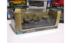 Jeep CJ-2A с прицепом Cararama 1/43, масштабная модель, 1:43, Bauer/Cararama/Hongwell