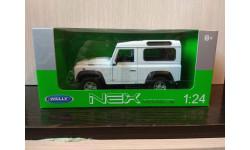 Land Rover Defender 90 Белый, масштабная модель, Welly, 1:24, 1/24