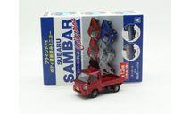 Subaru Sambar 2005 Aoshima 1/64 Red, масштабная модель, 1:64