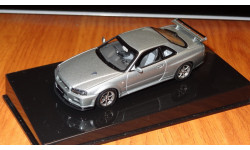 Nissan Skyline GT-R R34 V Spec-II Autoart, Gray, 1:43, металл, масштабная модель, 1/43