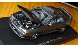 Nissan Skyline GT-R (BNR32), 1990, Gun gray metallic, Kyosho, 1:43, металл