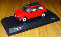 Nissan Be-1 open roof, tomato red, Kyosho, 1:43, металл