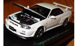 Nissan Skyline GT-R (BNR34) V-Spec II, White Perl, Kyosho, 1:43, металл, масштабная модель, 1/43