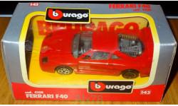 Ferrari F40, Bburago, cod. 4108, 1:43, Италия 1993 год, масштабная модель, 1/43