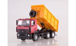 МАЗ-6501 самосвал вишневый/желтый, масштабная модель, Автоистория (АИСТ), 1:43, 1/43