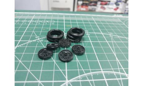 Резина+ Диски ГАЗ-А комплект 1:43 Maestro Харьковская резина   возможен обмен, масштабная модель, 1/43