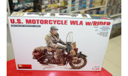 35172  мотоцикл  U.S. MOTORCYCLE WLA w/RIDER 1:35 Miniart  возможен обмен, сборные модели бронетехники, танков, бтт, scale16