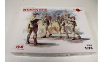 Фигуры Пехота США (1917г.), (4 фигуры) 35689, миниатюры, фигуры, 1:35, 1/35, ICM, МАЗ