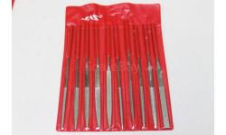4351-Набор надфилей с ручками, алмазные, 10 шт., чехол JAS Возможен обмен