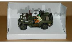 Jeep CJ-2A Willys с фигурой водителя и пулеметом Браунинг М1919 Cararama