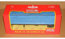 МАЗ-93801/2 полуприцеп бортовой с тентом синий Наш Автопром Н852, масштабная модель, 1:43, 1/43