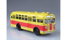 Автобус ЗИС-155 красно-жёлтый без шторок, масштабная модель, Автоистория (АИСТ), scale43