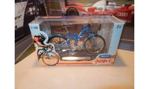 Велосипед BMW Q5.T синий, масштабная модель мотоцикла, Welly, scale10