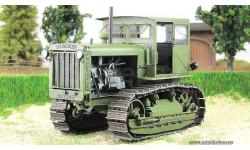 1.43 Сталинец С-65 с кабиной, хаки (Моделстрой)  Масштабная коллекционная модель, масштабные модели бронетехники, 1:43, 1/43, трактор  Сталинец С-65 с кабиной
