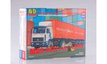 Сборная модель МАЗ-5432 с полуприцепом-контейнеровозом МАЗ-938920, сборная модель автомобиля, 1:43, 1/43