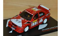 1:43 — Mitsubishi Lancer Evo VI #1 Winner Rallye Monte Carlo 1999 Mäkinen, Mannisenmäki, масштабная модель, Altaya, 1/43