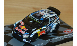 1:43 — Volkswagen VW Polo R WRC #1 Winner Rallye Monte Carlo 2016 Ogier, Ingrassia, масштабная модель, Altaya, 1/43