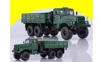 КРАЗ-255Б1 бортовой,зелёный, АИСТ 102255, масштабная модель, 1:43, 1/43, Автоистория (АИСТ)