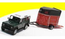 LAND ROVER Defender 110 с прицепом для перевозки лошадей, зеленый, масштабная модель, 1:43, 1/43, Bauer/Cararama/Hongwell