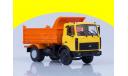 МАЗ-5551 самосвал (поздняя кабина, жёлто-оранжевый, высокий кузов), 1988 г. /металл. рама, откидывающаяся кабина/ 100527.ож, масштабная модель, 1:43, 1/43, Автоистория (АИСТ)