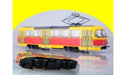 Трамвай Tatra-T3SU трёхдверный желтокрасный