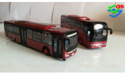 Автобус Yutong туристический и городской Ютонг 1 лотом, масштабная модель, China Promo Models, 1:43, 1/43