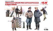 48086 Пилоты и техники ВВС Германии (зимний вариант) 2МВ, фигуры ICM 1:48, миниатюры, фигуры, scale48