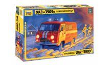 43001 Сборная модель уаз 3909 пожарная служба, звезда 1:43, сборная модель автомобиля