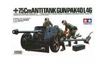 35047 TAMIYA Немецкая 75-мм противотанковая пушка PAK40/L46 с 3-мя фигурами (1:35), сборные модели артиллерии, scale35