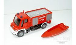 1/87 Mercedes-Benz Unimog Rosenbauer Feuerwehr + boot (Siku), масштабная модель, 1:87