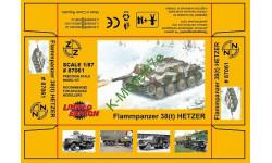 Огнеметный танк 38(t) HETZER набор для самостоятельной сборки - 1:87(H0), железнодорожная модель, Z.Z, 1/87