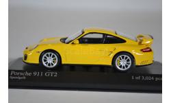 Porsche 911 GT2 2007 желтый, масштабная модель, Minichamps, 1:43, 1/43