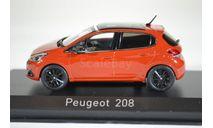 PEUGEOT 208 (рестайлинг) 2015 оранжевый, масштабная модель, Norev, 1:43, 1/43