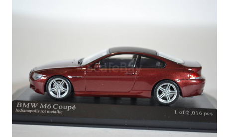 BMW M6 Coupe E63, 2006, бордовый, масштабная модель, Minichamps, 1:43, 1/43