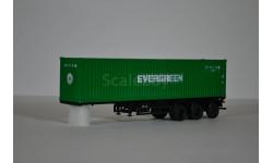 контейнер 40 футов  EVERGREEN с полуприцепом-контейнеровозом МАЗ-938920, сборная модель автомобиля, 1:43, 1/43