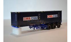 Полуприцеп-контейнеровоз МАЗ-938920 с контейнерами CGM CMA, сборная модель автомобиля, AVD для SSM, 1:43, 1/43