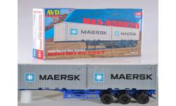 Сборная модель Полуприцеп-контейнеровоз МАЗ-938920, сборная модель автомобиля, AVD для SSM, 1:43, 1/43