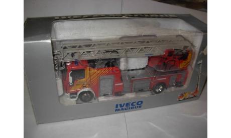 модель 1/43 пожарный Iveco Magirus DK 23-12 CS 4х-коленная выдвижная лестница Eligor металл пожарная серебристая коробка 1:43, масштабная модель, scale43