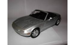 модель 1/18 Mazda MX5 Miata первого поколения 1989 Gate/ранний Autoart металл 1:18 серебристый, масштабная модель