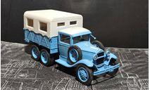 Газ-ААА бортовой с тентом - пробег Каракум - голубой / серый 1:43, масштабная модель, Наш Автопром, scale43