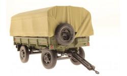 1953  Прицеп 2-ПН-2 с военными номерами , дугами и тентом + ящики. Цвет хаки., редкая масштабная модель, DIP  Models, scale43