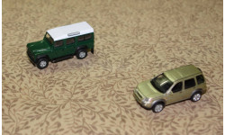 Land Rover Defender + Land Rover Freelander  = Cararama =  1-72 Скидка 13 % от цены на аукционе, масштабная модель, 1:72, 1/72