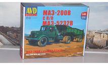 Сборная модель МАЗ-200В с полуприцепом МАЗ-5232В  AVD Models KIT, масштабная модель, scale43