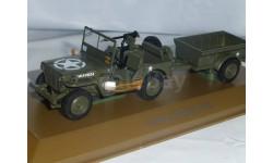 Jeep Willys MB с прицепом, Atlas, масштабная модель, 1:43, 1/43