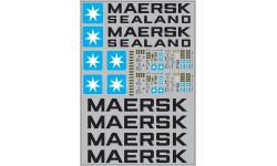 Набор декалей 0003 Контейнеры 40 футов Maersk (вариант 2) (200х290), фототравление, декали, краски, материалы, maksiprof, 1:43, 1/43