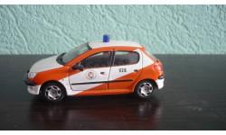 Peugeot 206 Пожарная служба., масштабная модель, Bauer/Cararama/Hongwell, 1:43, 1/43