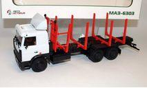 МАЗ-6303 сортиментовоз, серый / красный, масштабная модель, Автоистория, scale43