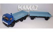 КАМАЗ-5320 с прицепом ГКБ-8650, синий / голубой, масштабная модель, 1:43, 1/43