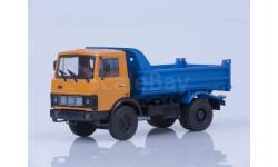 100497 МАЗ-5551 самосвал (ранняя кабина, оранжево-синий), 1988 г., масштабная модель, Автоистория (АИСТ), scale43