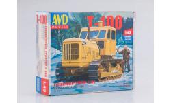 3010AVD Сборная модель Гусеничный трактор Т-100, масштабная модель, 1:43, 1/43, Автомобиль в деталях (by SSM), ЧТЗ